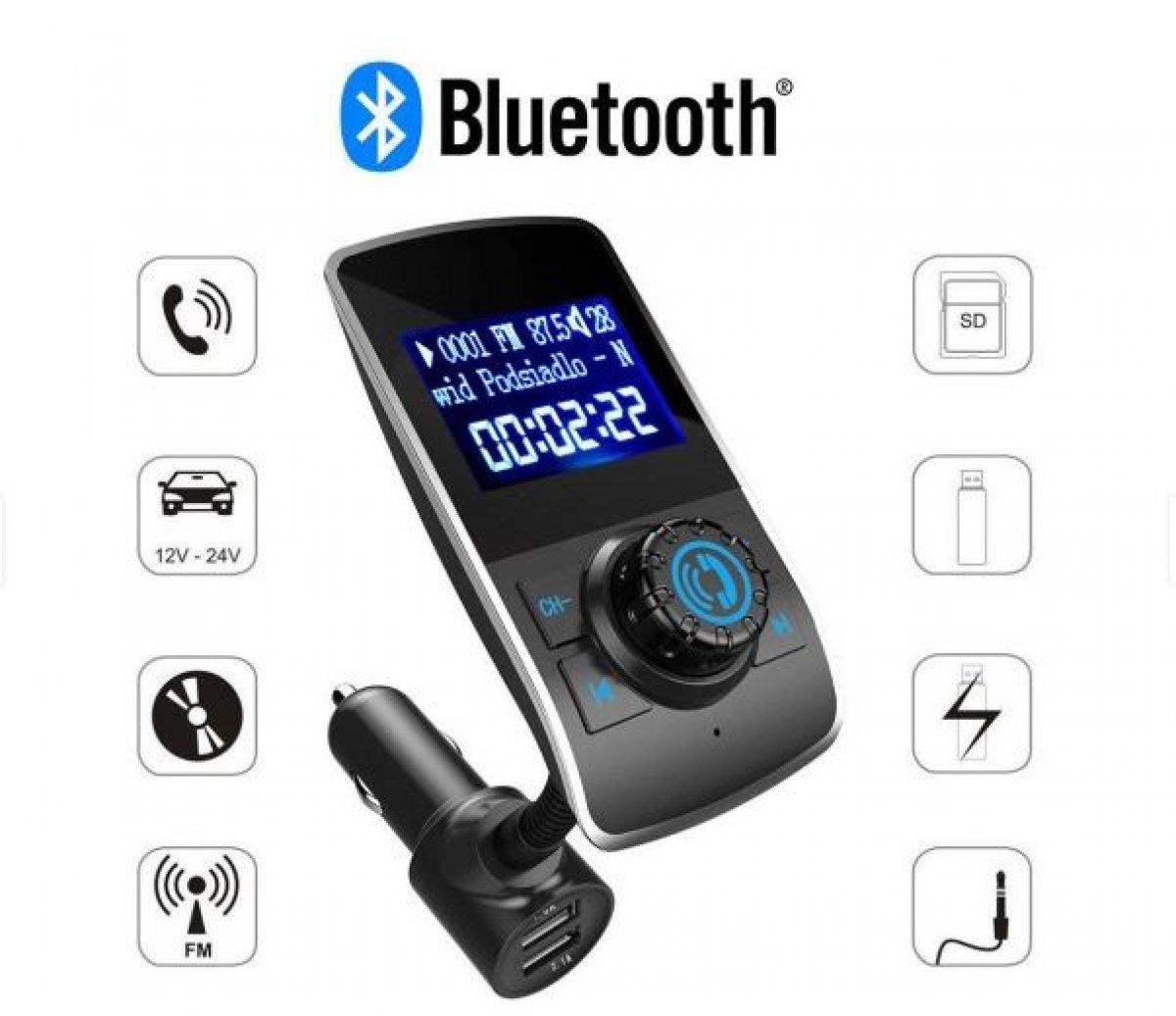 Wielofunkcyjny TRANSMITER FM USB SD BLUETOOTH MP3