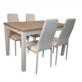 Stół z krzesłami biały