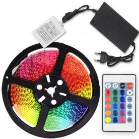 TAŚMA LED SMD 5050 5m ZESTAW WODOODPORNA RGB PILOT