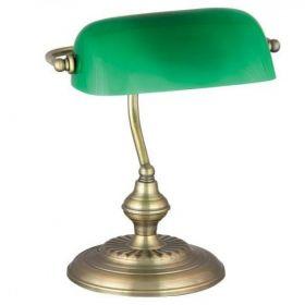 LAMPA BANKIERSKA ZŁOTY MATOWY ZIELONY KLOSZ 4038