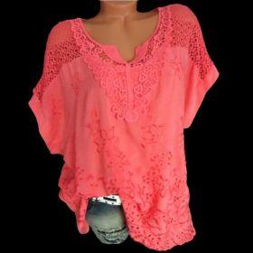 Modna damska koszulka z dekoltem w szpic Haftowana koszulka z krótkim