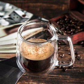 Przezroczysty dwuwarstwowy, żaroodporny kubek na herbatę, kawę