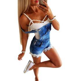 Letnie damskie jeansowe kombinezony